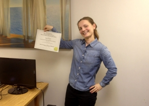 Illana shows of her 2014 SEO Certification