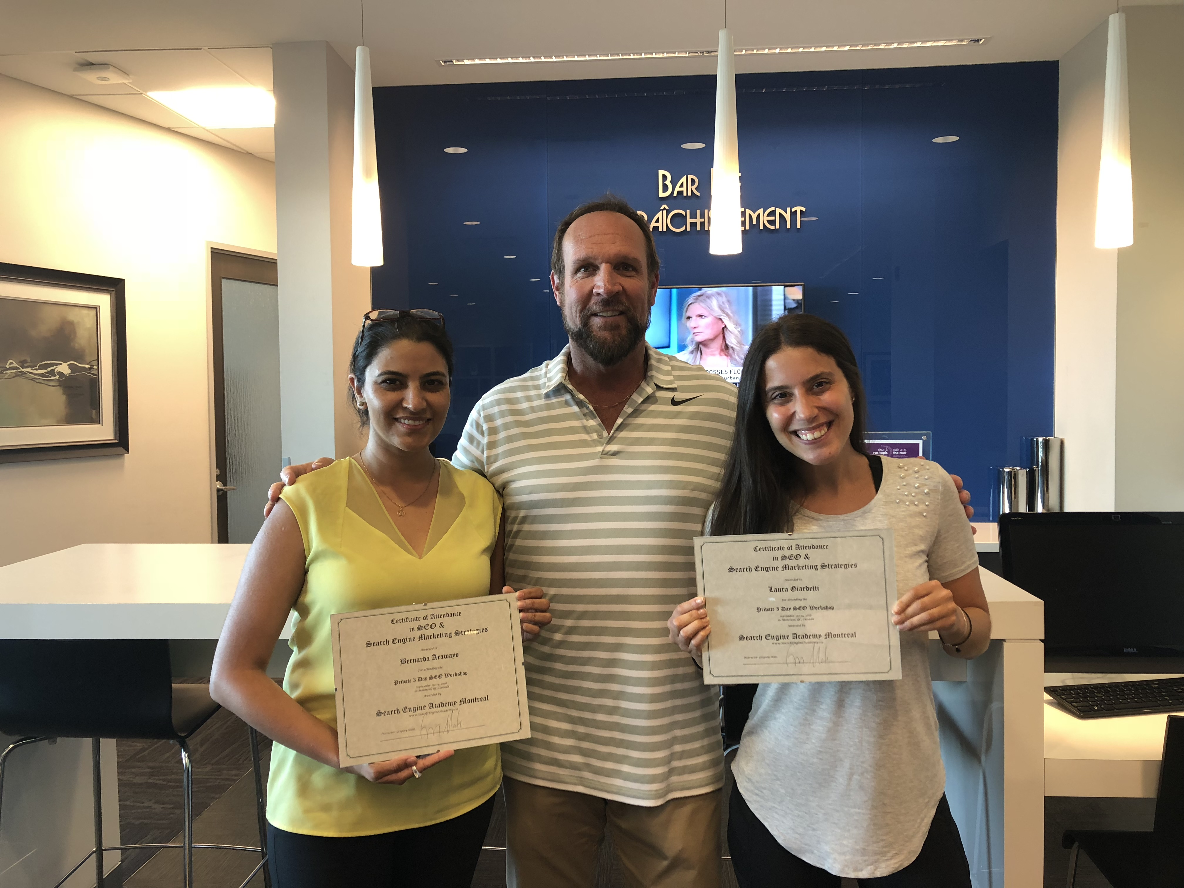 Laura and Bernarda with certificates