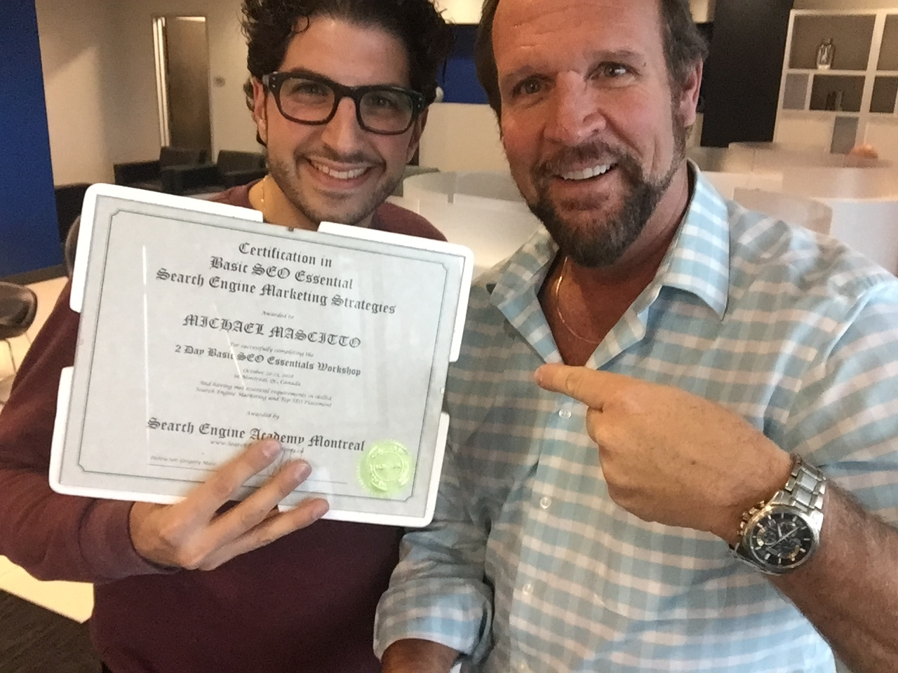 Michael and Greg with SEO Certification