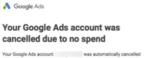 screen shot of google email