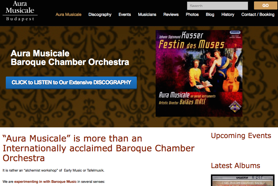 auramusicale.com homepage screen capture