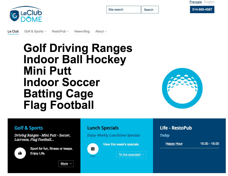 le club dome homepage screen shot