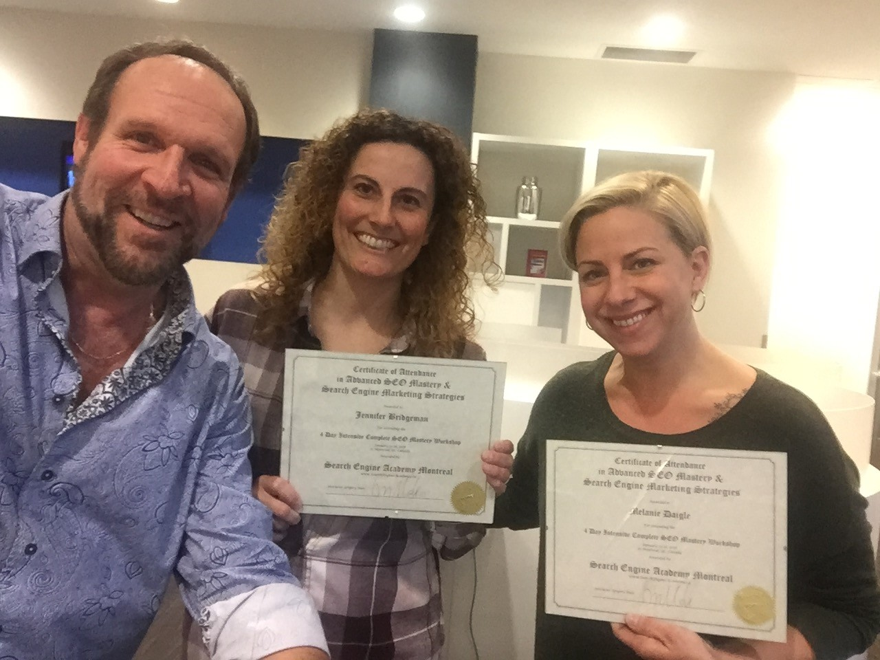 selfie with smiling myself, melanie & jennifer with their certificates