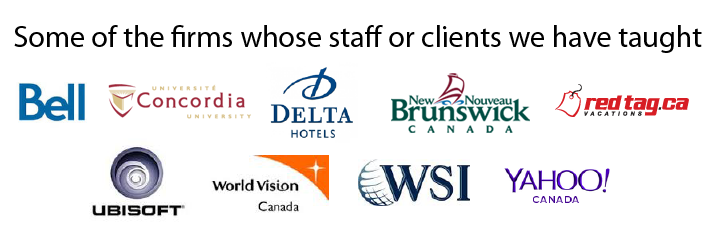 Some of the firms whose staff or clients we have taught
