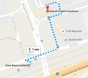 Walking Map from Beaconsfield Train Station to Search Engine Academy Montreal SEO